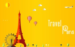 Flat stylish travel background, vector illustration for Paris, France, Travel and tourism concept - vector eps 10