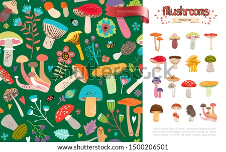 Flat summer forest mushrooms concept with beautiful flowers leaves bee ladybug and colorful mushrooms on green background vector illustration