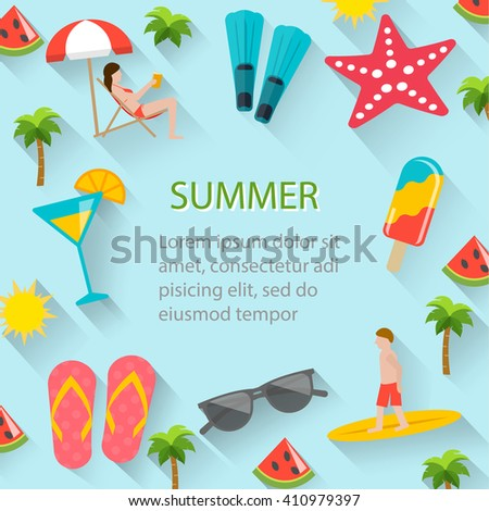 Flat summer holidays, beach vacation poster with  summertime icons set. Man surfing, woman sunbathing on beach. Summer party invitation, beach background , ad, sale backdrop. Layout template, vector