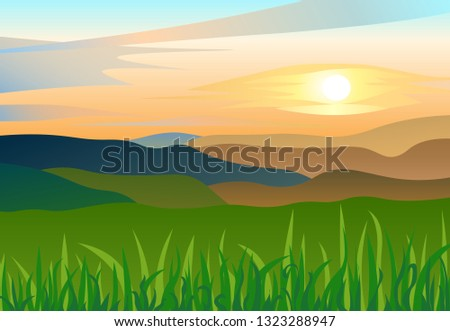 flat summer landscape with
