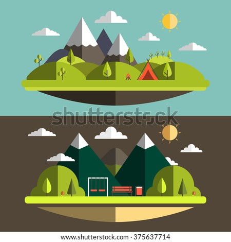 Flat summer nature landscape