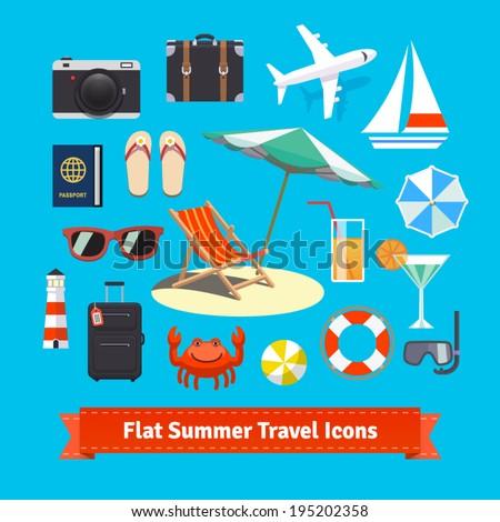 flat summer travel icons