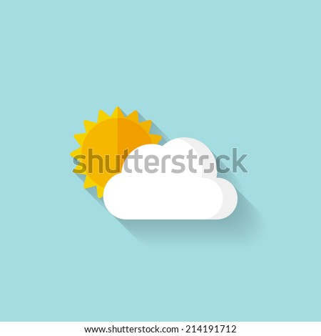 flat sun and cloud weather web