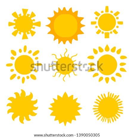 Flat sun icon. Sun pictogram. Trendy vector summer symbol for website design, web button, mobile app.
