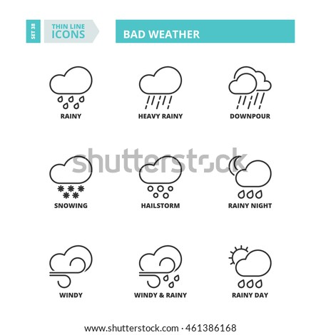 Flat symbols about bad weather. Thin line icons set.