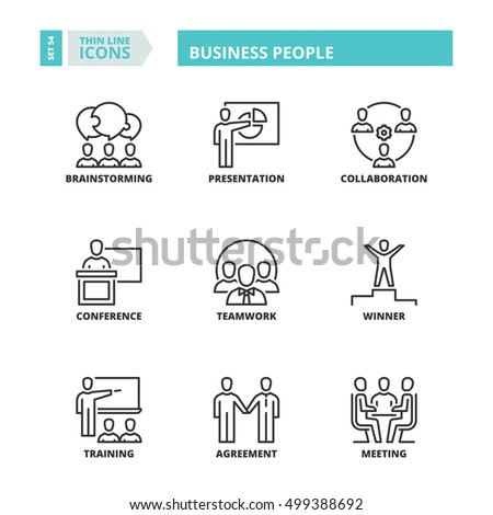Flat symbols about business people. Thin line icons set.