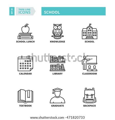 Flat symbols about school. Thin line icons set.