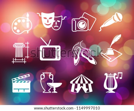 Flat symbols of culture, arts and entertainment on the Colorful background with defocused lights