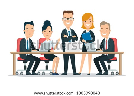 Flat Team in meeting room at the table with laptops happy young man and woman vector characters illustration. Successful Business Teamwork concept.
