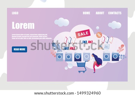 Flat Template Design for Online Electronics Store, with Woman, Rushing to Add Items in Sale Like Washing Machine, Electronic Book, Camera, Laptop, Pad to Cart. Copy Space for Your Text.