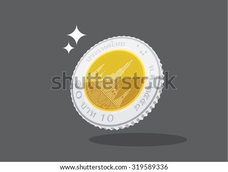 flat 10 Thai baht metal money coin illustration vector