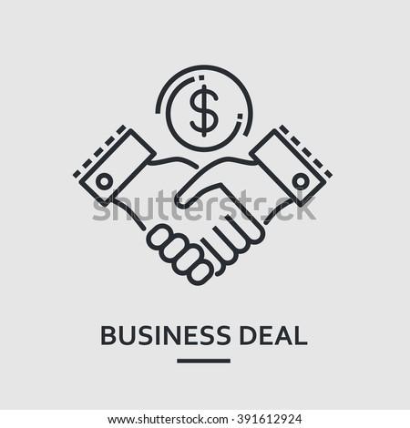 Flat thin line handshake icon. Outline stroke minimal vector agreement concept logo. Round mono hand pictogram. Modern vector art illustration. For web, banner, poster, design element, mobile app.