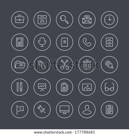 Flat thin line icons modern design style illustration vector set of office equipment, objects, tools and other elements using people in their work. Isolated on white background.