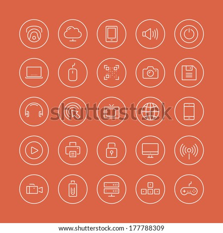 Flat thin line icons modern design style illustration vector set of technology object and equipment, multimedia symbol, sound instrument, audio and video item and element. Isolated on white background