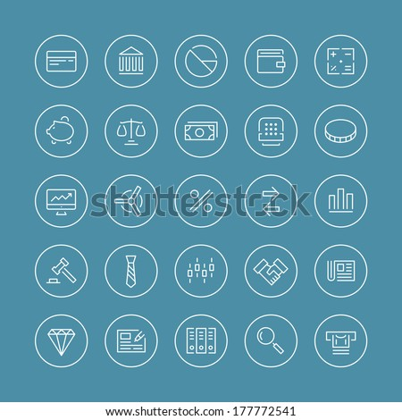 Flat thin line icons modern design style vector set of financial service items, banking accounting tools, stock market global trading and money objects and elements. Isolated on white background.
