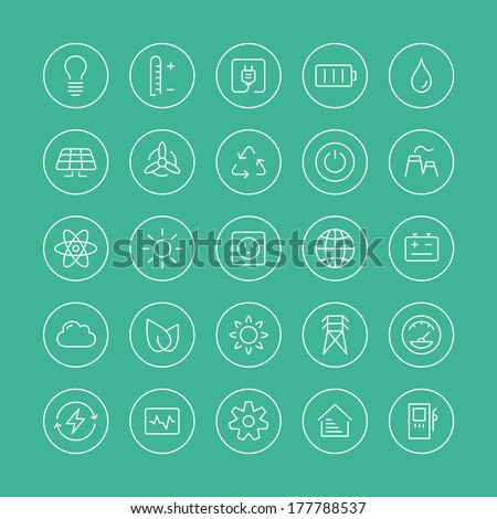 Flat thin line icons modern design style vector set of power and energy symbol, natural renewable energy technologies as solar, wind, water, geothermal heat, bio fuel. Isolated on white background