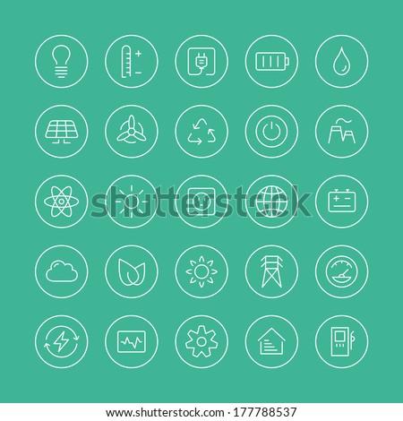 flat thin line icons modern