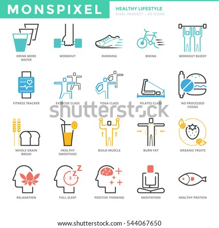 Flat thin line Icons set of Healthy Lifestyle. Pixel Perfect Icons. Simple mono linear pictogram pack stroke vector logo concept for web graphics.