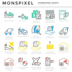 Flat thin line Icons set of International Logistic . Pixel Perfect Icons. Simple linear pictogram pack stroke vector logo concept for web graphics