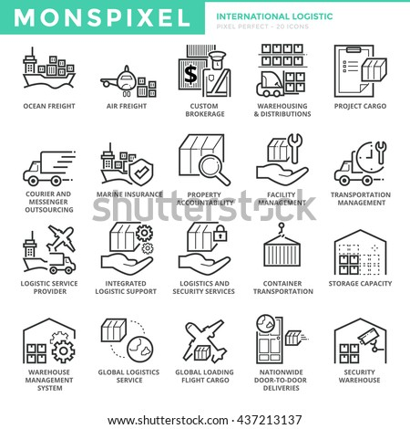 Flat thin line Icons set of International Logistic . Pixel Perfect Icons. Simple mono linear pictogram pack stroke vector logo concept for web graphics