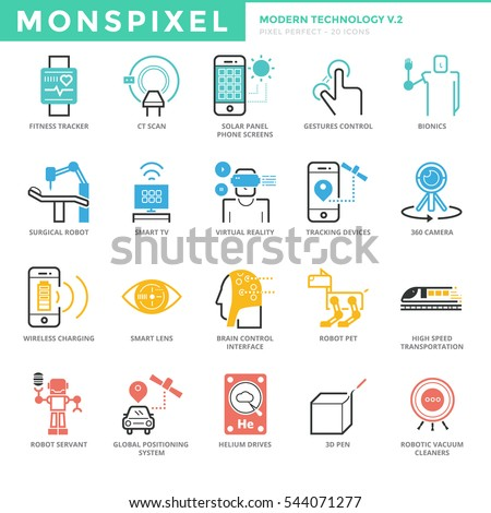 Flat thin line Icons set of Modern Technology. Pixel Perfect Icons. Simple mono linear pictogram pack stroke vector logo concept for web graphics.