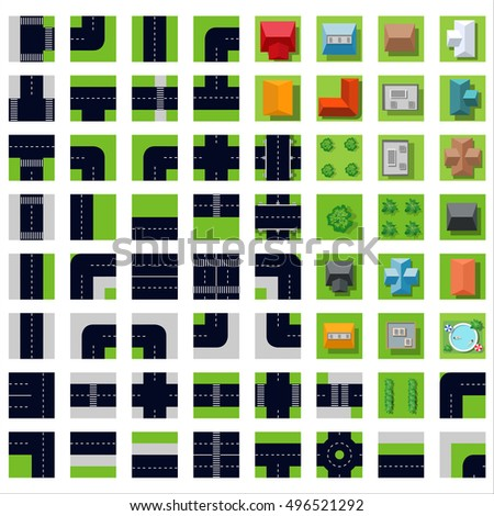 Flat top view Set icons road highway. Concept kit of design elements for modeling urban vector maps and plans