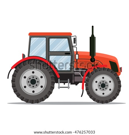 Flat tractor on white background. Red tractor icon - vector illustration. Agricultural tractor - transport for farm in flat style.