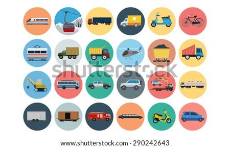 flat transport icons 3