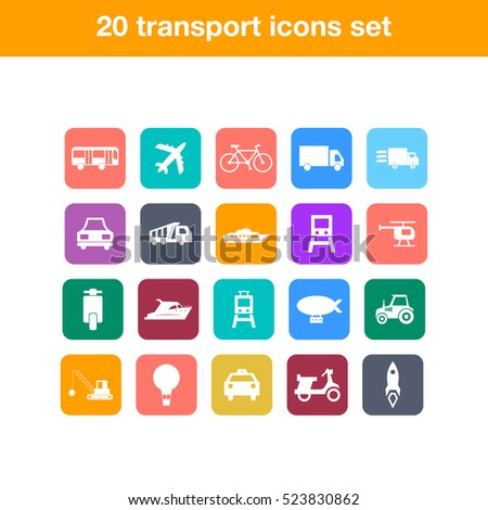 Flat transport icons set