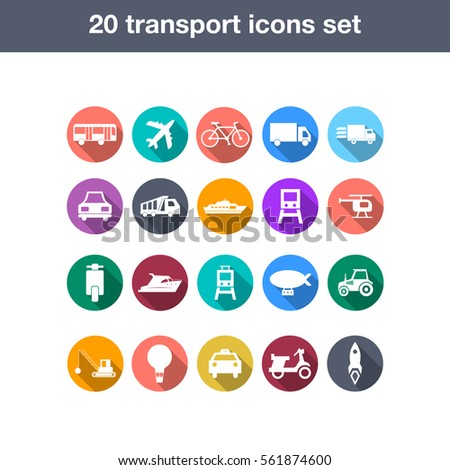 Flat transport icons set with long shadow. eps10