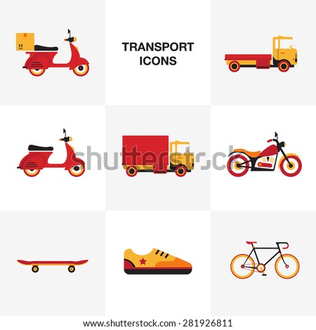 flat transport vehicle icon set