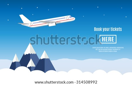 flat travel banner with