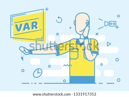 Flat trendy Referee football shows the game stop action. Video Assistant Referee. Soccer VAR System on the TV screen. Vector illustration Imagine de stoc ©