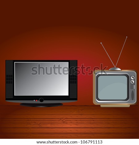 Flat tv and old tv.