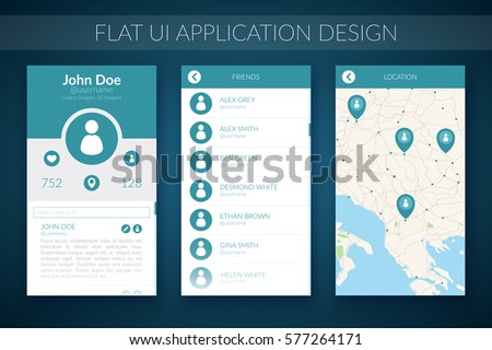 Flat UI design concept with map contact list and web elements for mobile application vector illustration