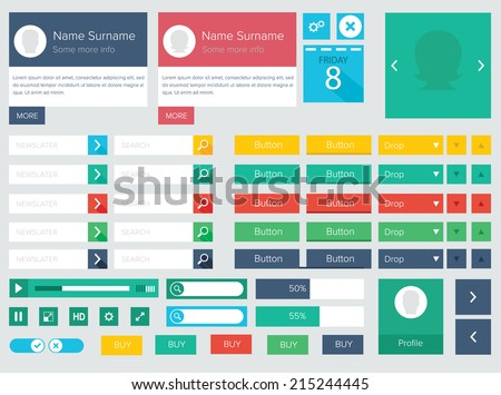 flat ui kit design elements for