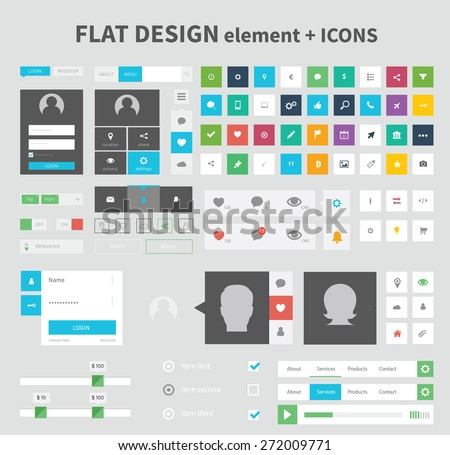 flat ui kit pack design with