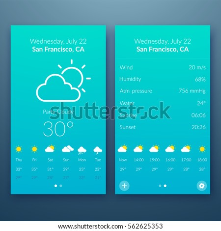 Flat UI light design concept with weather widgets and web elements for mobile application vector illustration