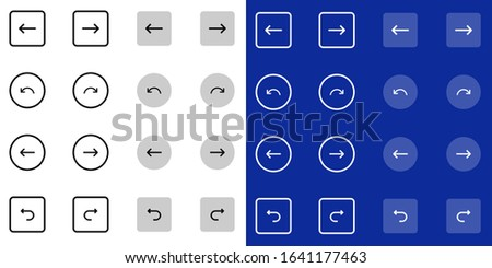 Flat Undo and Redo line icon set. Left arrow, right arrow, sign in, sign out, download, shuffle, refresh, reset outlined icons collection for web and mobile apps navigation bar. Imagine de stoc ©