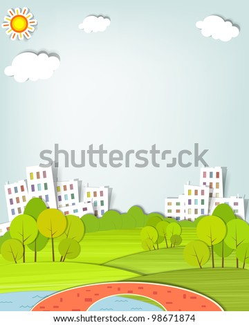 flat urban landscape with trees
