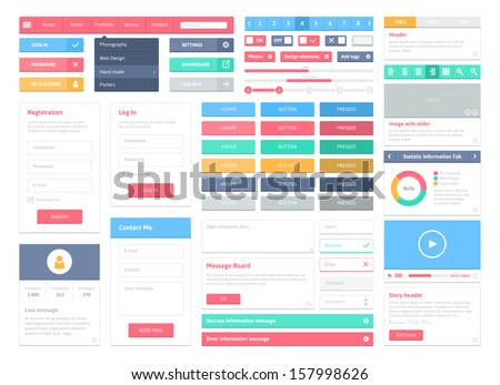 Flat user interface vector set for website development and mobile application design with lots of colorful stylish icons, buttons, control elements and forms in modern fresh design style.