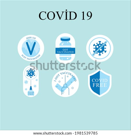 Flat vaccination campaing badge collection. Covid 19 Foto stock ©