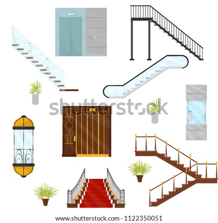 Flat vectoe set of different elevators and stairs. Cabins of mechanical lifts, modern staircases and moving stair. Architectural elements