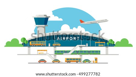 Flat vector airport building front illustration. Train line and automobile road coming to the terminal entrance. Airport transport system picture. Plane taking off in the distance.