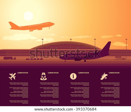 flat vector airport main terminal with infographic elements templates