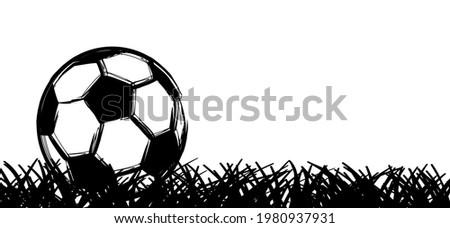 Flat vector black grunge soccer ball. Grungy football. 2020, 2021 Cartoon sport EK, WK pictogram Sports game cup.  Stok fotoğraf ©