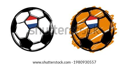 Flat vector black grunge soccer ball with the flag of the Netherlands. Grungy football. Cartoon sport EK, WK pictogram Sports game. Holland 2020, 2021 Stok fotoğraf ©