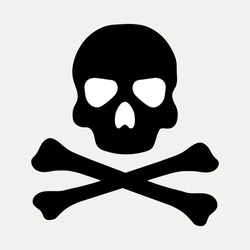 Flat vector black skull and crossbones.Vector death icon for games and apps.