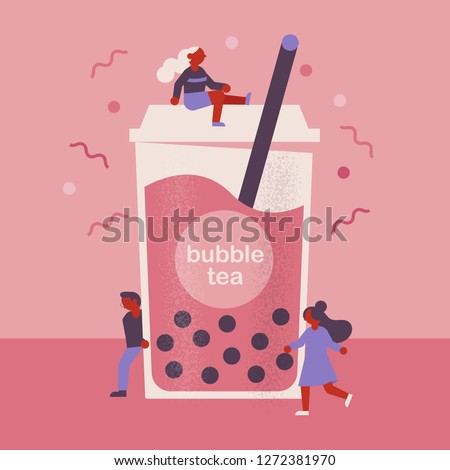 flat vector bubble tea concept