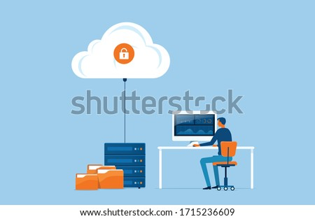 flat vector business technology storage and cloud server service concept with administrator and developer team working concept Сток-фото ©